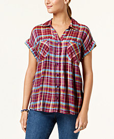 Style & Co Plaid High-Low Shirt, Created for Macy's