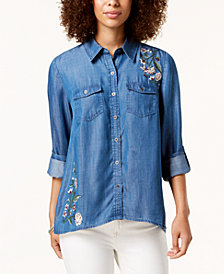 Style & Co Petite Embroidered Lace-Up Back Shirt, Created for Macy's