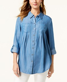 Style & Co Petite 2-Pocket Button-Down Shirt Created for Macy's