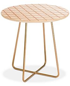Little Arrow Design Co Blush Grid Round Side Table