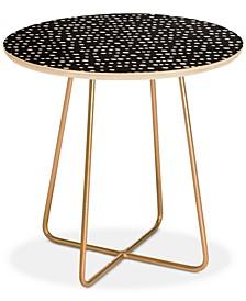 Little Arrow Design Co dotty stripes neutral Round Side Table
