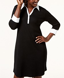 Petite Cotton Woven Collared Dress, Created for Macy's