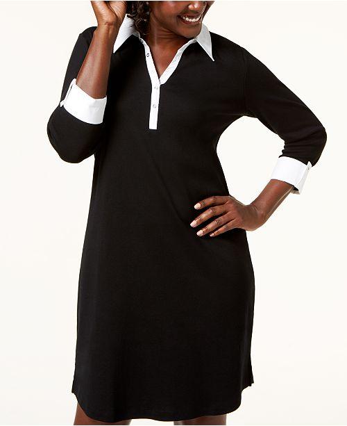 4 Deep Macy's 3 Shirtdress Karen Created Cotton for Black Sleeve Scott q46tO