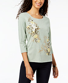 Karen Scott Floral-Appliqué Top, Created for Macy's