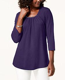 Karen Scott Faux-Pearl-Embellished Scoop-Neck Top, Created for Macy's