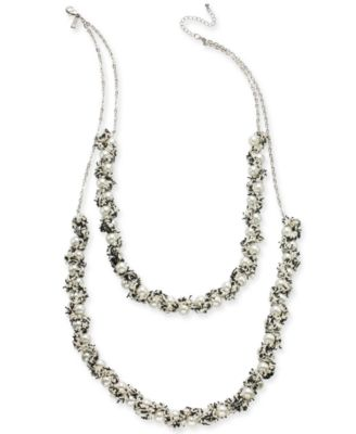 """I.N.C. Silver-Tone Imitation Pearl & Tweed Thread Multi-Layer Statement Necklace, 26-1/2"""" + 3"""" extender, Created for Macy's"""