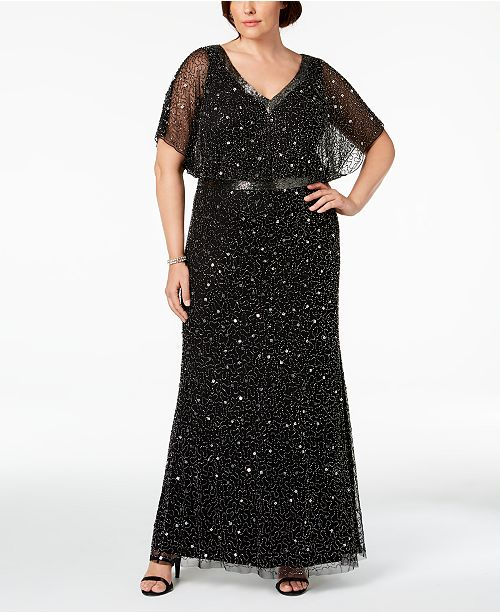 f15da44983b Adrianna Papell Plus Size Beaded Blouson Gown   Reviews ...