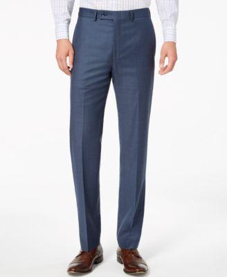 Men's Slim-Fit Stretch Blue Neat Suit Pants