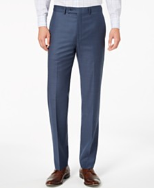 Calvin Klein Men's Slim-Fit Stretch Blue Neat Suit Pants