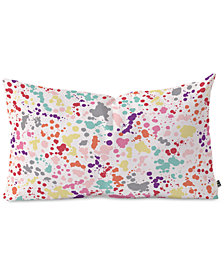 Deny Designs Ninola Design Multicolored Splatter Drops Painting Oblong Throw Pillow