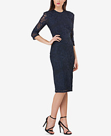 JS Collections Embroidered 3/4-Sleeve Sheath Dress