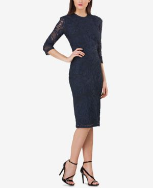 JS COLLECTIONS Embroidered 3/4-Sleeve Sheath Dress in Midnight