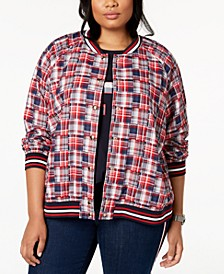 Plus Size Cotton Patchwork-Plaid Varsity Jacket, Created for Macy's