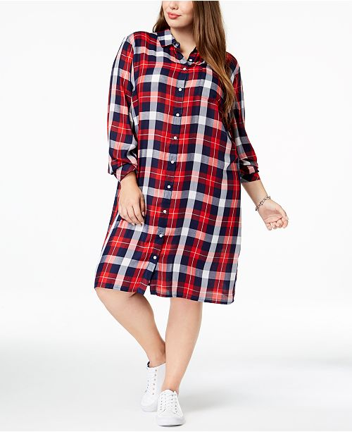 Tommy Hilfiger Plus Size Plaid Shirtdress, Created for ...