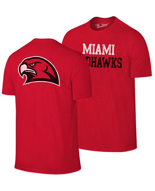 07a41dd53da ... Retro Brand Men's Miami (Ohio) Redhawks Team Stacked Dual Blend T-Shirt  ...