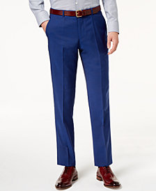 HUGO Men's Modern-Fit Bright Blue Solid Suit Pants