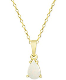 "Opal Teardrop 18"" Pendant Necklace (1/2 ct. t.w.) in 14k Gold-Plated Sterling Silver"