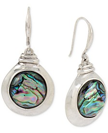 Silver-Tone Abalone-Look Drop Earrings