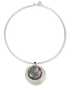 """Silver-Tone Abalone-Look Wire 16"""" Pendant Necklace"""