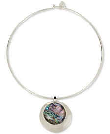 "Robert Lee Morris Soho Silver-Tone Abalone-Look Wire 16"" Pendant Necklace"