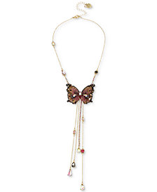 "Betsey Johnson Gold-Tone Bead & Butterfly 16"" Lariat Necklace"