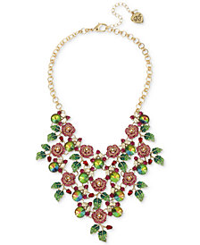 "Betsey Johnson Gold-Tone Multi-Stone Rose Statement Necklace, 16"" + 3"" extender"