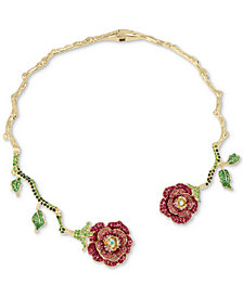"Betsey Johnson Gold-Tone Multicolor Crystal Rose 18"" Collar Necklace"