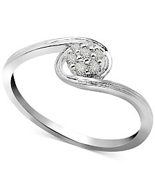 Diamond Swirl Small Cluster Ring (1/10 ct. t.w.) in Sterling Silver
