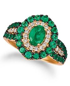 Le Vian® Costa Smeralda Emeralds™ (1 5/8 ct. t.w.) and Nude Diamonds™ (1/4 ct. t.w.) Ring in 14k Rose Gold