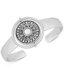 Lucky Brand Silver-Tone Stone & Imitation Mother-of-Pearl Reversible Cuff Bracelet
