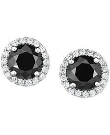 Zirconia Halo Stud Earrings in Sterling Silver