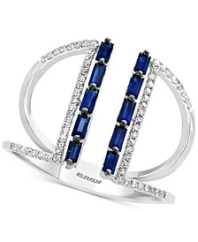 EFFY® Sapphire (1/2 ct. t.w.) & Diamond (1/6 ct. t.w.) Cuff Ring in 14k White Gold