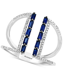 EFFY® Sapphire (1/2 ct. t.w.) & Diamond (1/6 ct. t.w.) Cuff Ring in 14k White Gold