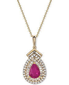 "Certified Ruby (3/4 ct. t.w.) & Diamond (1/3 ct. t.w.) 18"" Pendant Necklace in 14k Gold (Also Available in Sapphire or Emerald)"