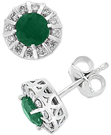EFFY® Emerald (9/10 ct. t.w.) & Diamond (1/3 ct. t.w.) Stud Earrings in 14k White Gold (Also available in Sapphire, Certified Ruby & Tanzanite)
