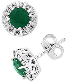 Amoré by EFFY® Emerald (1-1/8 ct. t.w.) & Diamond (1/3 ct. t.w.) Stud Earrings in 14k White Gold (Also available in Certified Ruby, Sapphire & Tanzanite)