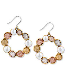 Lucky Brand Gold-Tone Druzy Stone & Imitation Pearl Circle Drop Earrings