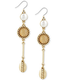 Lucky Brand Gold-Tone Imitation Pearl Drop Earrings