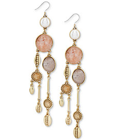 Lucky Brand Gold-Tone Druzy Stone & Imitation Pearl Chandelier Earrings