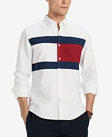 Tommy Hilfiger Men's Pieced New England Colorblocked Custom Fit Shirt, Created for Macy's