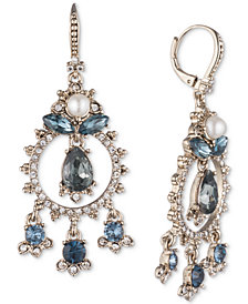 Marchesa Gold-Tone Crystal, Stone & Imitation Pearl Shaky Drop Earrings