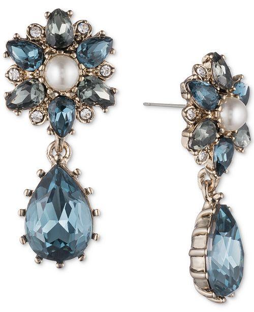 Marchesa Gold-Tone Crystal, Stone & Imitation Pearl Double Drop Earrings
