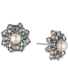 Marchesa Gold-Tone Crystal, Stone & Imitation Pearl Stud Earrings