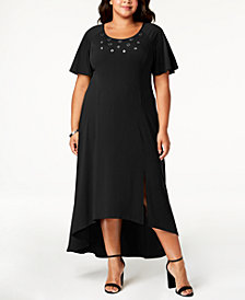 NY Collection Plus Size & Petite Plus Grommet-Trim Maxi Dress