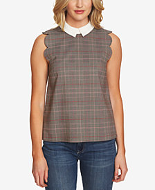 CeCe Scalloped Glen-Plaid Collar Top