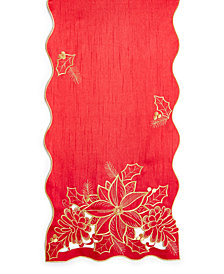 "Elrene Poinsettia Red 13""x70"" Table Runner"