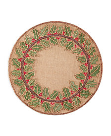 "Leila's Linens 15"" Jute With Beaded Christmas Holly Wreath Placemat"