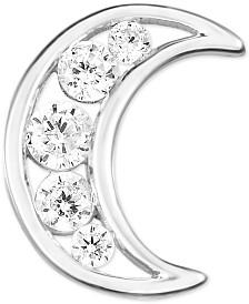 Diamond Moon Single Earring (1/5 ct. t.w.) in 14k White Gold