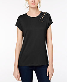 I.N.C. Petite Grommet-Lace T-Shirt, Created for Macy's