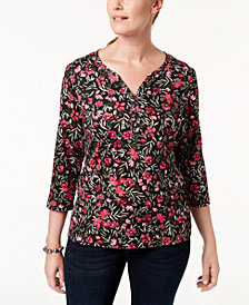 Karen Scott Petite Floral-Print Henley Top, Created for Macy's